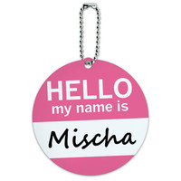 Mischa Hello My Name Is Round ID Card Luggage Tag