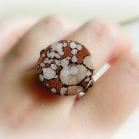 Shell Ring - Size 8.5 - Brown Shell -  Seashell, Black, Chocolate, Mocca, Cream, Vanilla, Night, Ocean, OOAK, Unique, Gemstone, Stone, Bead