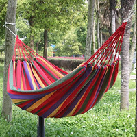 SZS Hot  190cm x 80cm Stripe Hang Bed Canvas Hammock 120kg Strong and Comfortable (Red)