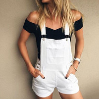 Fashion Pocket Denim Overalls Strap Romper Jumpsuit Shorts