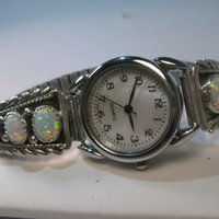 Vintage  Ladies Sterling Silver Opal Watch Tips signed Running Bear with Watch