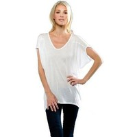 Womens Dolman Sleeve Scoop Neck Tunic Tee
