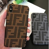 Fendi Fashion iPhone Phone Cover Case For iphone 6 6s 6plus 6s-plus 7 7plus 8 8plus Coffee