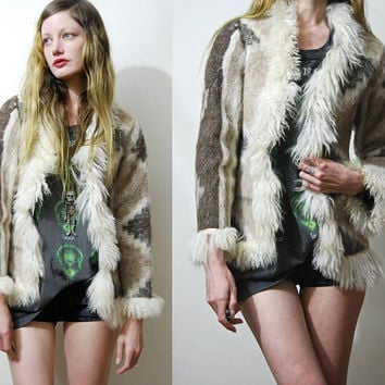 70s Vintage MONGOLIAN Lambs Fur Jacket Fluffy ALPACA Wool Sheepskin Edge Shaggy Penny Lane Coat Ethnic Boho Bohemian Hippie 1970s vtg XS