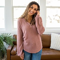 Alexandria Mauve Waffle Sweater with Button Detail