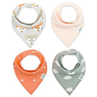 Matimati Baby Bandana Drool Bibs with Snaps, 4-Pack Extra Absorbent for Girls (Coral & Gray Set)