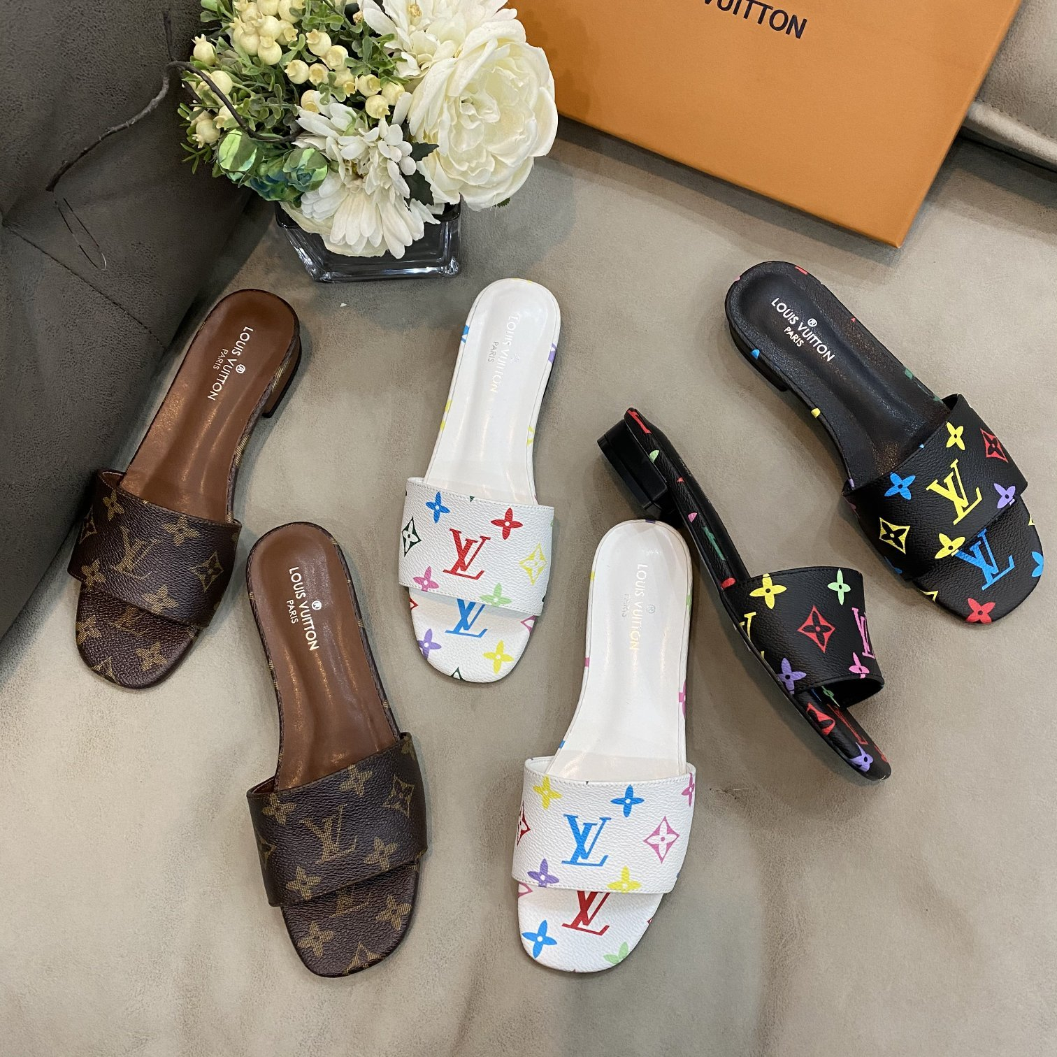 Image of LV square slippers
