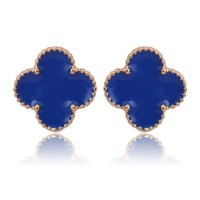 Beady Cleef Single Stud - Gold & Blue