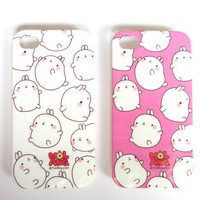 Sweet Bunny Molang iPhone 4 protective Case - 2 color to pick