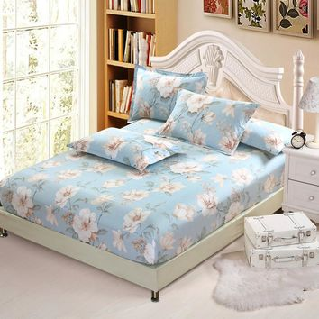American style White dlower 3Pcs Cotton bed Fitted Sheet Single Double Fitted Cover Mattress Cover full queen king Bedspread