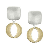 Marjorie Baer Clip On Earrings in Silver and Brass with Open Disc Drop