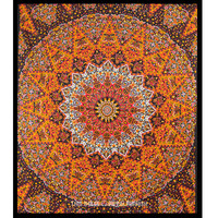 Large Black Multicolor Psychedelic Star Mandala Wall Tapestry Indian Bedspread on RoyalFurnish.com