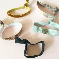Faux Druzy Embellished Hair Ties Set of 5 in Taupe, Grey, Tie Dye, Leopard Print and Gold Glitter