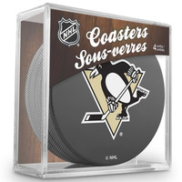 Pittsburgh Penguins Hockey Puck Coasters Set In Case