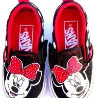 The Minnie - Disney inspired Vans Shoes hand painted Minnie Mouse