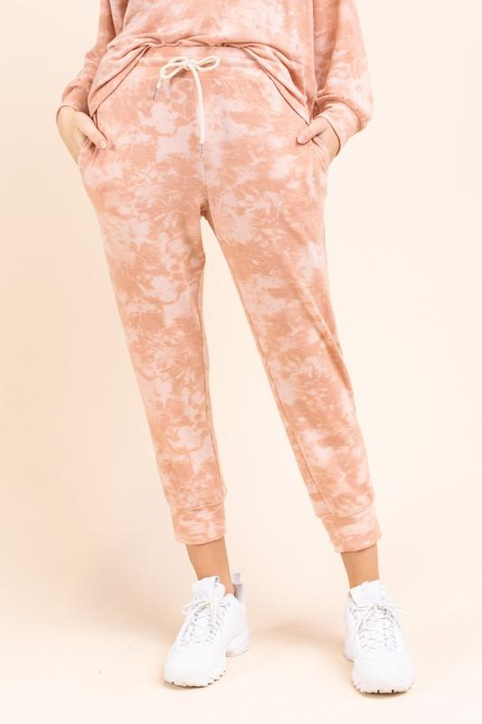 Image of Tie Dye Print Joggers - Marsala ONLY 1 SMALL LEFT