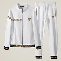 """Versace"" New Trending Women Men Stylish Long Sleeve Zipper Top Sweater Pants Trousers Set Two-Piece Sportswear White I-BJQSFS"