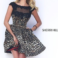 Short Sleveless Black Leopard Fit and Flare Dress by Sherri Hill