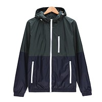 Windbreaker Men Casual Lightweight Jacket Fashion New Spring Autumn  Hooded Contrast Color Zipper up Jackets Outwear Chea