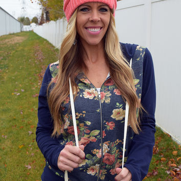 Elbow Patch Floral Hoodie - Navy