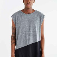 Feathers Angled Colorblocked Muscle Tank Top- Charcoal