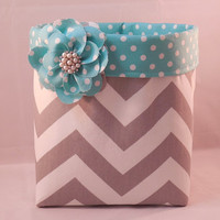 Gray and White Chevron Fabric Basket With Aqua and White Polka Dot Liner And Detachable Fabric Flower Pin For Storage Or Gift Giving