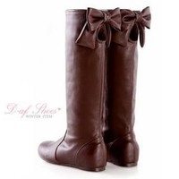 YESSTYLE: D+AF- Bow-Accent Cutout Tall Boots (Coffee - Europe 42) - Free International Shipping on orders over $150