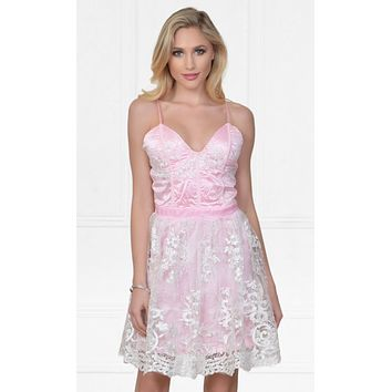 Indie XO Feeling Butterflies Pink Lace Sleeveless Spaghetti Strap Bustier V Neck Skater Circle A Line Flare Mini Casual Dress