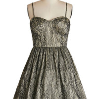 ModCloth Mid-length Spaghetti Straps Fit & Flare Enchanting Evening Dress