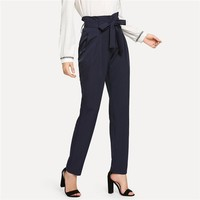 High Waist Belted Tailored Pants Women Elegant Workwear Pleated Trousers Office Lady Navy Long Pants