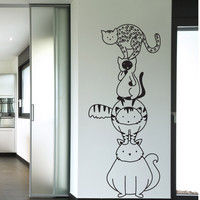 Vinyl Wall Decal Sticker Stacked Cats #OS_DC786
