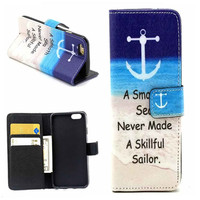 Anchor Print Leather Case Cover Wallet for iPhone 6 / iPhone plus
