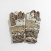 Knitted Men's Gloves - Beige and Gray, Large