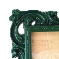 Green Picture Frame - Emerald Painted Frame - 5x7 Picture Frame - Emerald Photo Frame - Baroque Photo Frame - Dark Green Frame - Whimsical