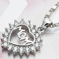 Rhodium Layered Women Heart Fancy Necklace, with White Cubic Zirconia, by Folks Jewelry