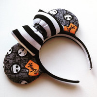 Nightmare Before Christmas Striped bow Minnie Ears READY TO SHIP