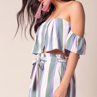 Candy Stripe Two Piece Short Set