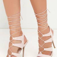 Heartbreaker Nude Lace-Up Heels