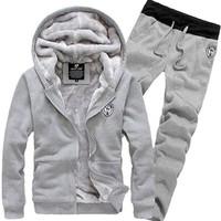 Tracksuit for  Casual Spring Autumn Thicking Hoody Fur Lining Fleece Hoodies Pant  Sports Clothing Sets Sweat Suits