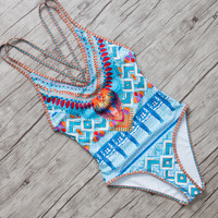 2017 Hot Sale Swimwear Women Set Sexy Bathing Suits Push Up One Piece Top Printed Monokini Maillot D