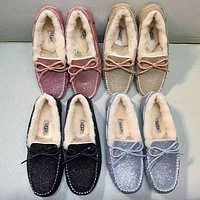 """UGG"" Trending Women Stylish Shiny Wool Bow Shoes"