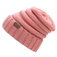 CC men and women trendy labeling knitted hat cap hat warm hat Pink
