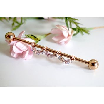 Industrial Barbell 14g 16g Scallop Design