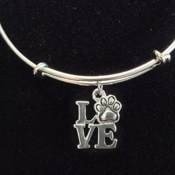 Love Dog Paw Charm Silver Expandable Bracelet Handmade IN USA Adjustable Wire Bangle Gift Animal Lover Trendy