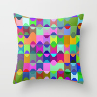 Abstract Color Throw Pillow by kasseggs