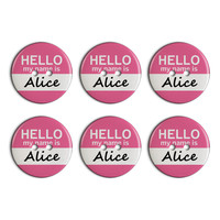 Alice Hello My Name Is Plastic Resin Button Set of 6