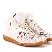 Margiela Paint Splatter GATs Sneakers in Grey Suede