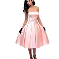 Unique Vintage Soft Peach Satin & Tulle Charade Swing Dress