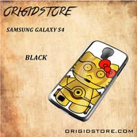 C3PO Hello Kitty Star Wars Black White Snap On 3D For Samsung Galaxy S4 Case