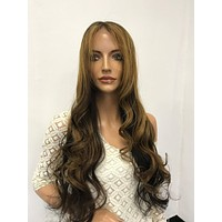 CHESTNUT BROWN BALAYAGE ~ Soft Brazilian Human Hair ~ Lace Front Wig @ 150% density & 22 Inches Long